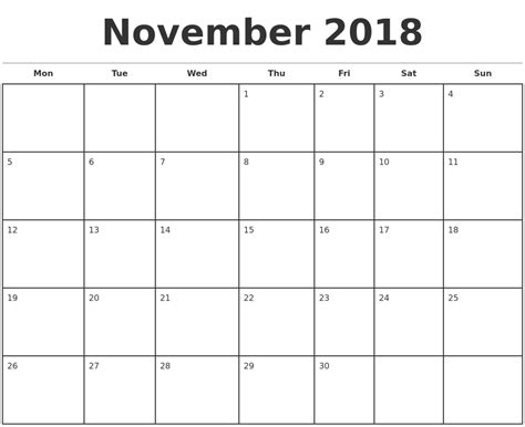 2018 November Calendar November 2018 Monthly Calendar Template
