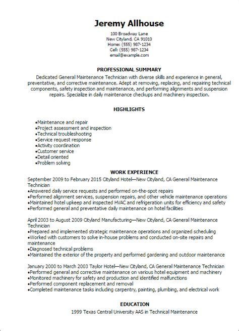 Maintenance Technician Resume professional general maintenance technician templates to