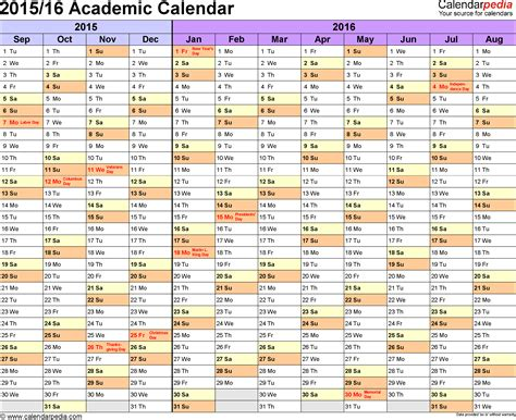 American Academic Calendar Academic Calendars 2015 2016 As Free Printable Word Templates