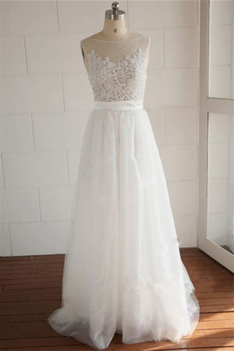 elegant white lace long wedding dress simple