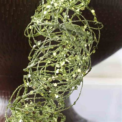 direct floral green glitter metal 3d christmas tree pick lime green glitter and sequin twisted wire garland vase