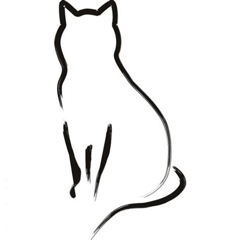 cat tattoo line drawing cat outline cat outline wall sticker animal wall art