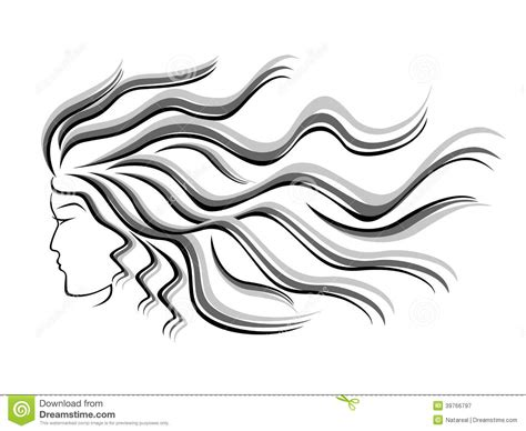 Female Silhouette Head With Flowing Hair Stock Vector   Image: 39766797