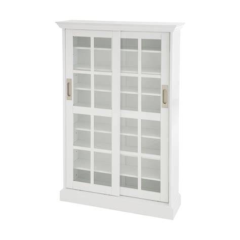 White Media Cabinet With Glass Doors View Larger