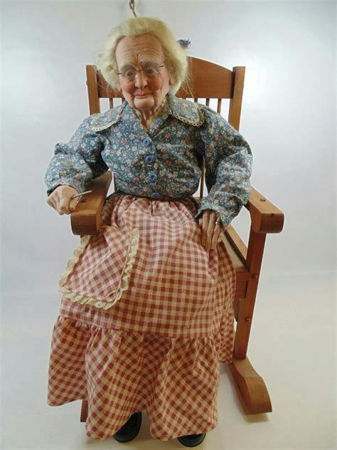 porcelain doll on rocking realistic porcelain doll in rocking chair 287 ebay