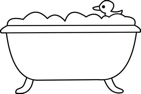 bathtub outline bath tub and rubber ducky line art free clip art