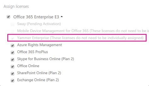 Office License Manage Yammer User Licenses In Office 365 Office 365