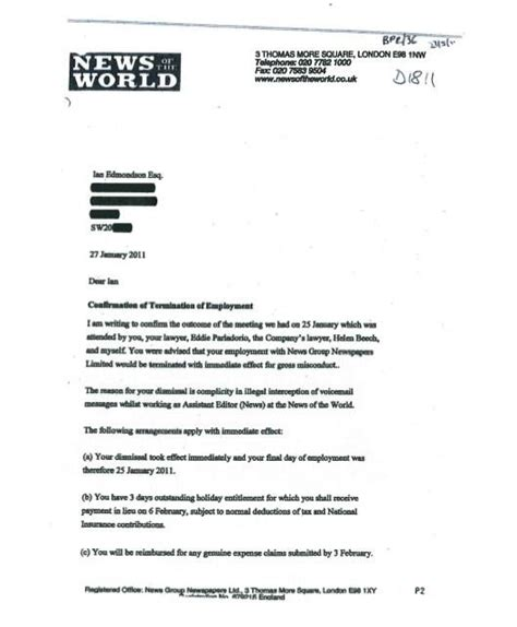 termination letter sle for gross misconduct robin brant 白洛宾 on quot p1 of notw letter to