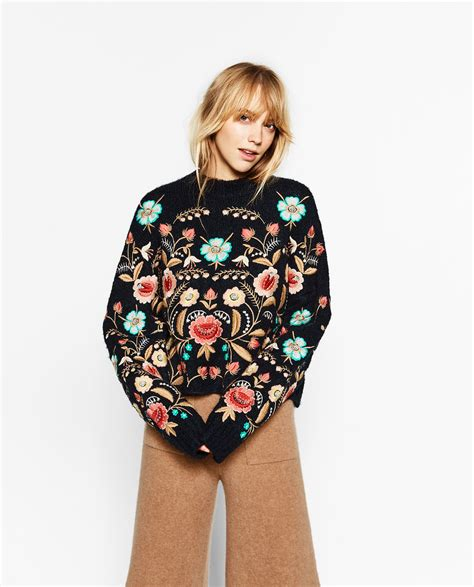 Floral Embroidered Pullover floral embroidered sweater zara zara