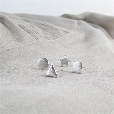 sterling silver geometric ear stud earrings by evy designs