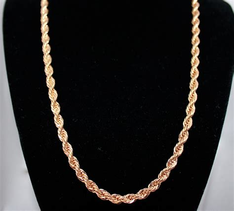 chains for jewelry real 24k gold layered 6mm rope chain necklace w