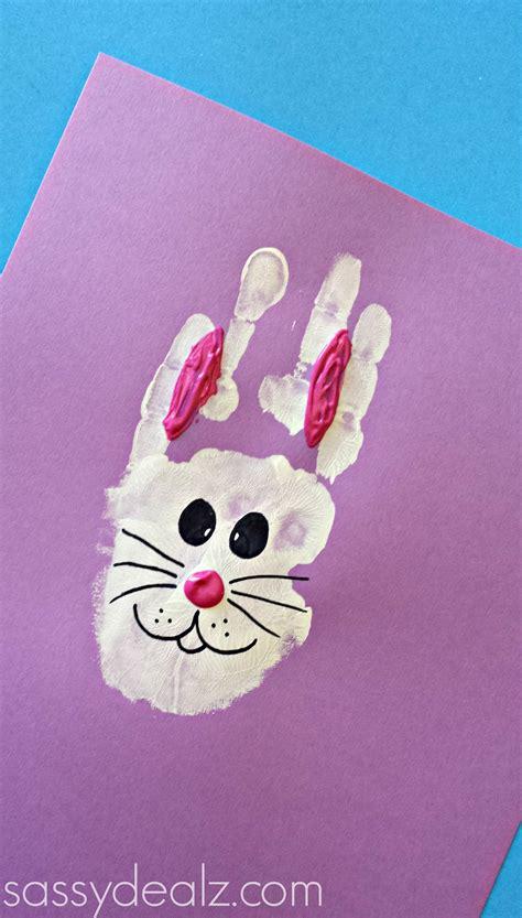 rabbit crafts for bunny rabbit handprint craft for easter idea