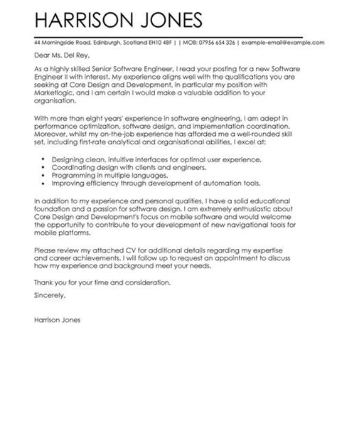 experience letter format for software engineer software engineer cover letter exles for engineering