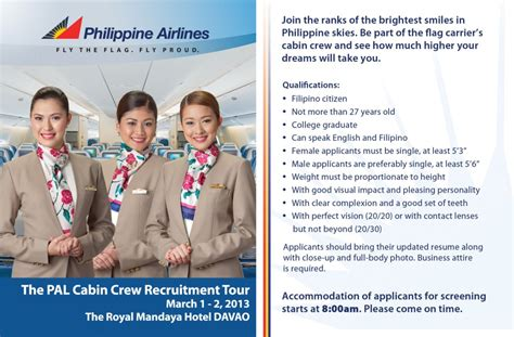 cabin crew qualification fly gosh cabin crew open day philippine airlines