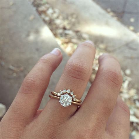 Wedding Ring With Wedding Band by 25 Best Ideas About Curved Wedding Band On