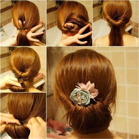how to diy easy twisted hair bun hairstyle for