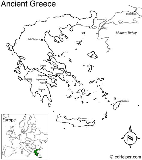 greek map coloring page ancient greece outline map 5 6 history greece pinterest
