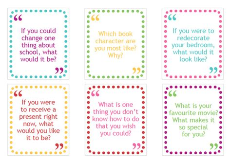 Printable Conversation Cards Template free printable family conversation cards