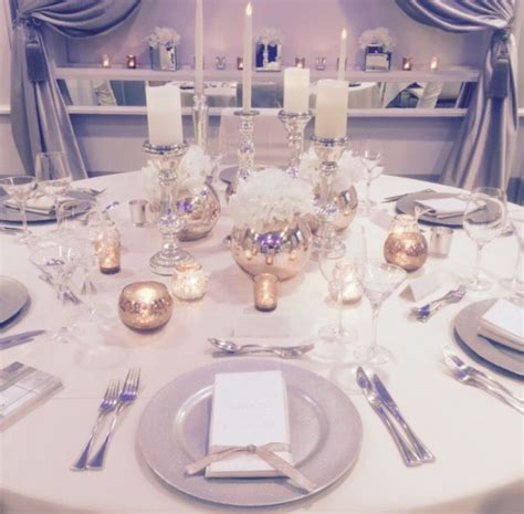 Rose gold and silver wedding decor.   The Merchant Hotel