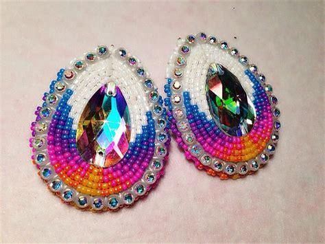 Beaded Earrings american beaded earrings white sunset teardrop by
