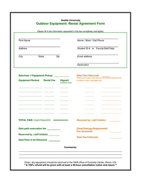 100 equipment rental contract template short term