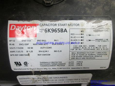 how does a capacitor start electric motor work dayton 6k965ba capacitor start electric motor 1 2 hp 1725 rpm 115 230v cw ccw southern surplus