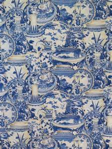 Blue White China Vase Remnantblue Willow Vase Print Pure Cotton Fabric From