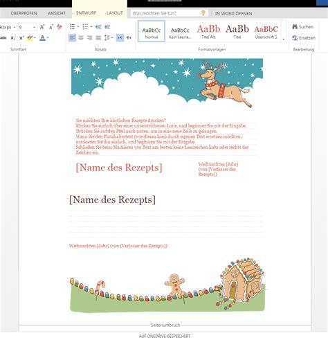 Word Vorlage Rezept Weihnachtliche Rezeptkarten Wordvorlage De