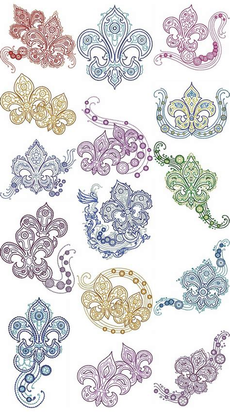 flur design fleur de lis fashion machine embroidery designs by sew swell