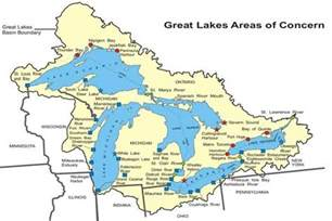canada map great lakes great lakes aocs status map great lakes areas of concern