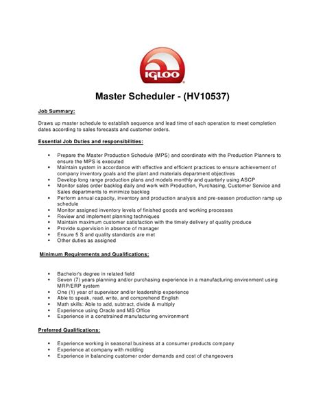Master Production Scheduler Sle Resume by Master Production Scheduler