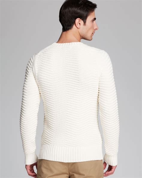 Kent Crew Sweater Kent Crew lyst kent curwen herringbone crewneck sweater in white