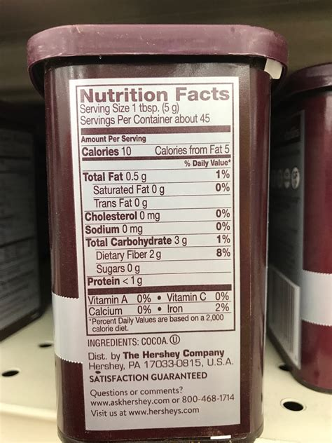 Hersheys 100 Cocoa Powder Unsweetened hershey s cocoa unsweetened calories nutrition analysis more fooducate