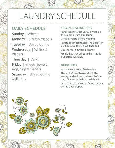 printable laundry schedule laundry schedule cleaning tips pinterest