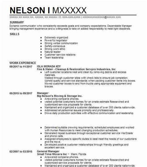 Mover Resume by 1941 Movers Resume Exles Transportation And
