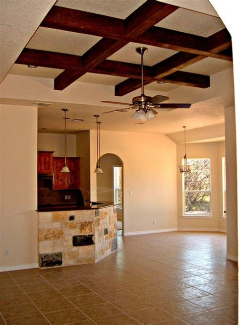 Tray Ceiling With Wood Faux Wood Beams In Tray Ceiling Rustic Family Room