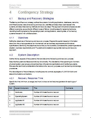 business plan analysis template business continuity plan 48 pg ms word 12