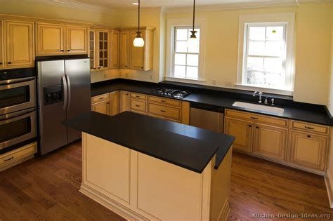 Pictures Of Kitchens Traditional Off White Antique Kitchens With Black Countertops
