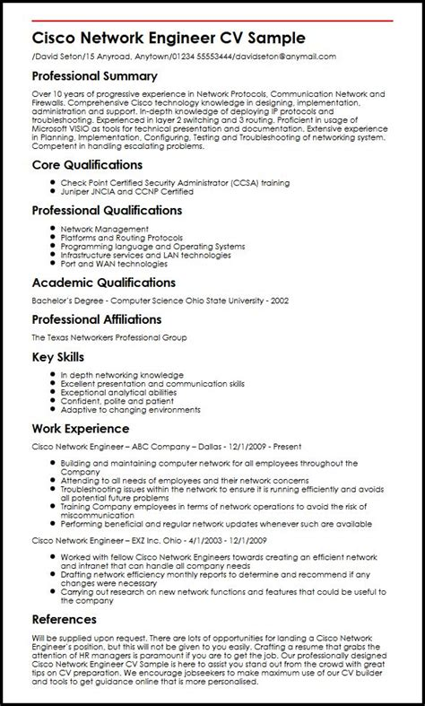 cisco network engineer cv sle myperfectcv