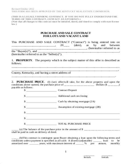 Purchase And Sale Agreement Design Templates Land Sale Agreement Template