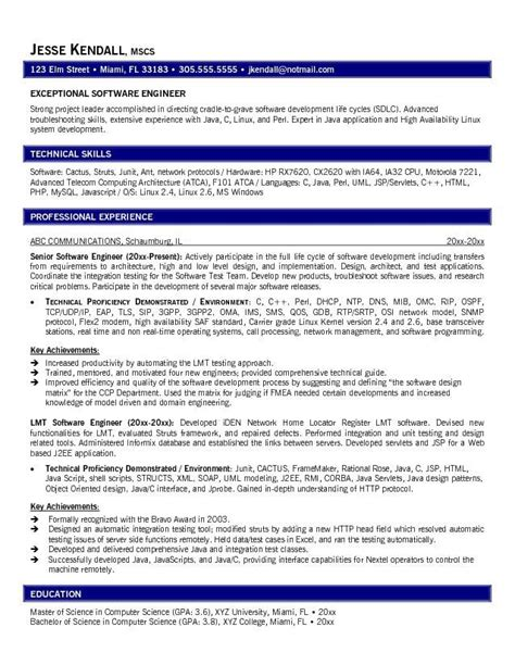 career objective for experienced software developer 13 software engineer resume sles riez sle resumes