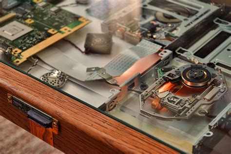 diy cyberpunk coffee table made from old laptop parts steunk art by everwood studio shop