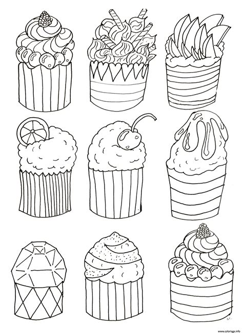 easy coloring pages for seniors coloriage simple cup cakes par olivier dessin