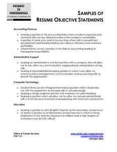 Resume Career Objective Examples Career Goal Statement Sample