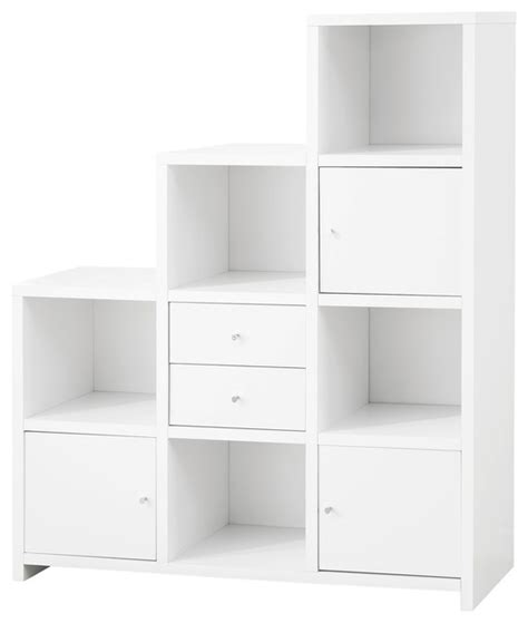 asymmetrical reversible cube storage compartment bookshelf