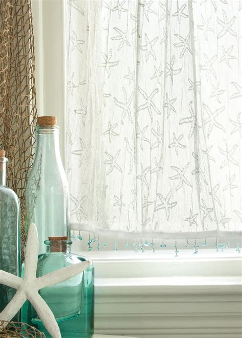 White Lace Aqua Beaded Starfish Curtains Coastal Kitchen Curtains