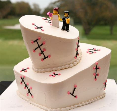 Two tier offset wedding cake with Lego bride and groom