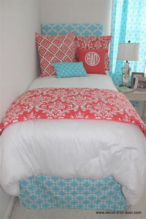 aqua and coral bedding coral and aqua new dorm bedding set www decor 2 ur door