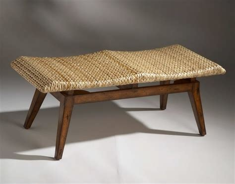 seating benches indoor designer s edge bench with woven seagrass seat rustic