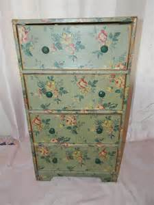 vintage wallpapered cardboard dresser drawers by